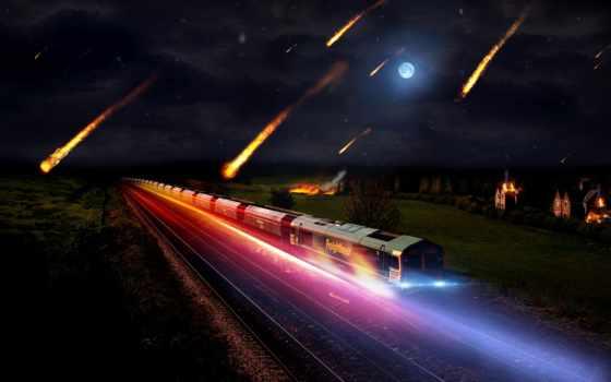 ночь, поезд, freight, луна, rails, meteorites, pictures, небо,