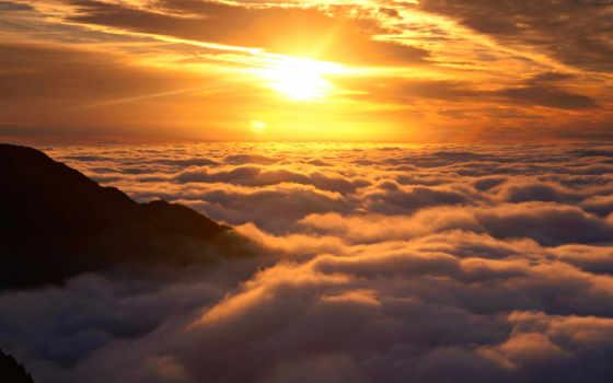 sun, clouds