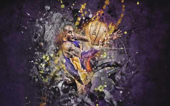 kobe, bryant, lakers, баскетбол, spalding, игрок, мяч, рисунок,