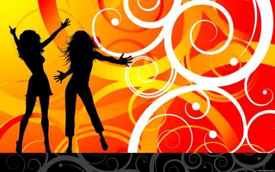 dance, вектор, диско, devushki, танцуют, mix,