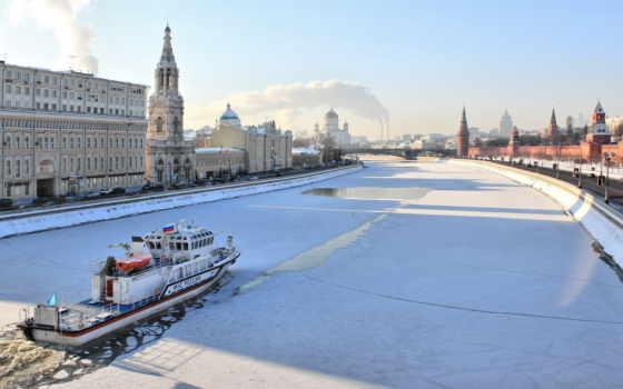 москва, река, winter