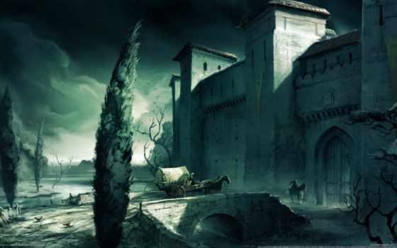 art, fortress, landscape, люди, wagon, арка, мост, кони,