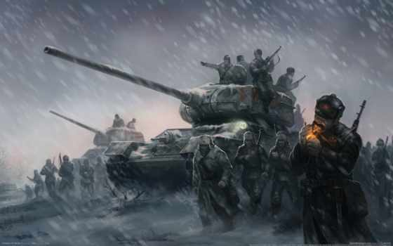 war, великая, отечественная, second, world, winter, герои, blizzard, танки, боя, поле,
