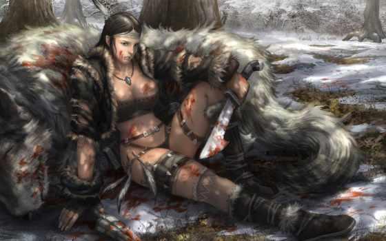 hunter, девушка, лес, extraction, клинки, кровь, усталость, art,