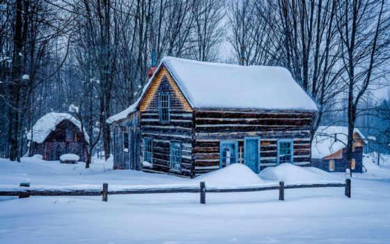 зимнем, лесу, lodge, log, пл, miners, кабина, zobacz,