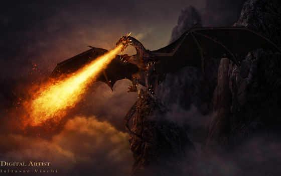 дракон, fantasy, огонь, остов, steve, войны, фэнтези, дракона, скалы,