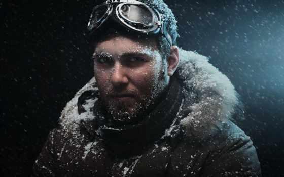снег, холод, мужчины, парень,