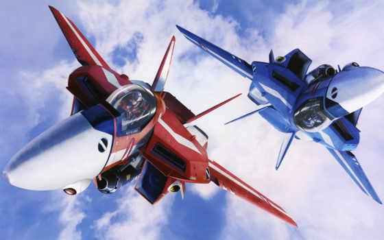 aircraft, macross, anime, clouds, blue, san, military, las,