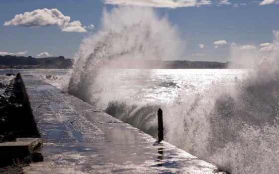 причал, море, буря, surf, waves, pier, горизонт, небо, волна, oblaka, брызги,