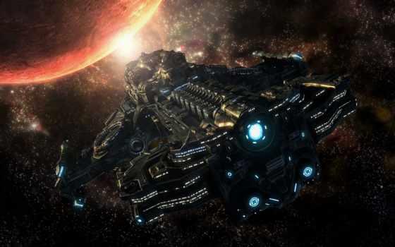 starcraft, planet, корабль, звезды, cosmic, cosmos,