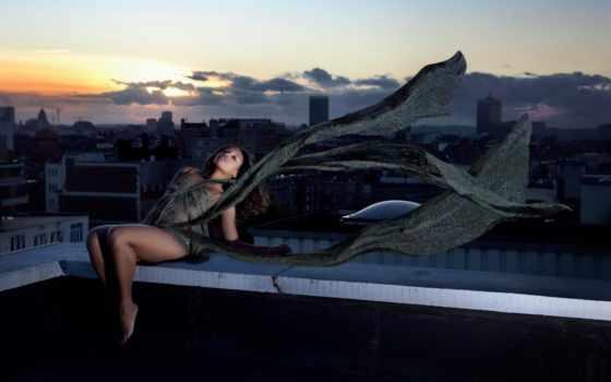 девушка, город, платье, крыше, модель, ветер, women, building,