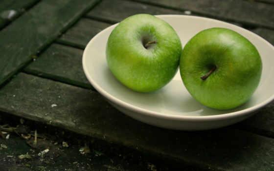 картинка, два, разных, табличка, яблоки, трио, зелёных, яблока, фрукты, доски,
