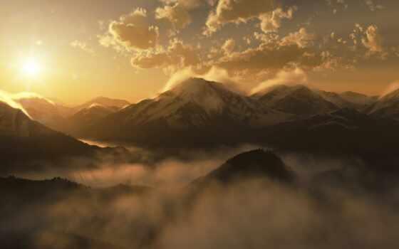 гора, sun, landscape, солнечный, white, утро, закат, туман, rising