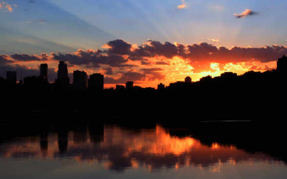 sunset, minneapolis, тучи, контур, pictures, sunrise, город, photo,
