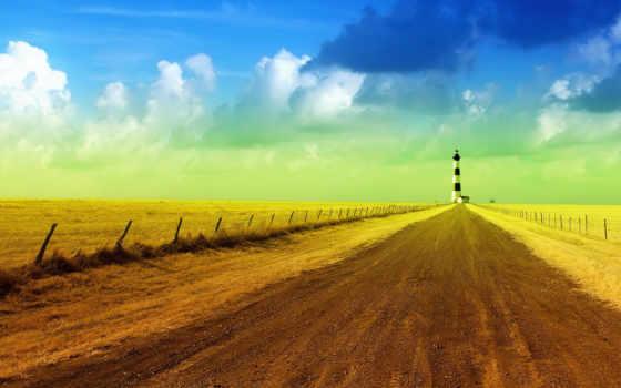 маяк, небо, дорога, oblaka,