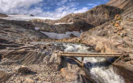 мост, река, горы, oblaka, поток, скалы, брёвна, снег,