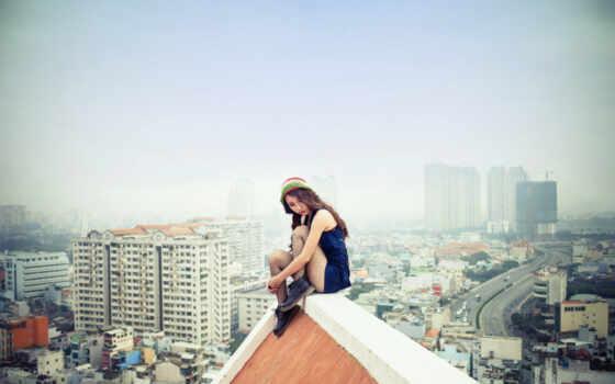 крыша, sitting, женщина, top, разное, ordered, страница, одинокий, searching,
