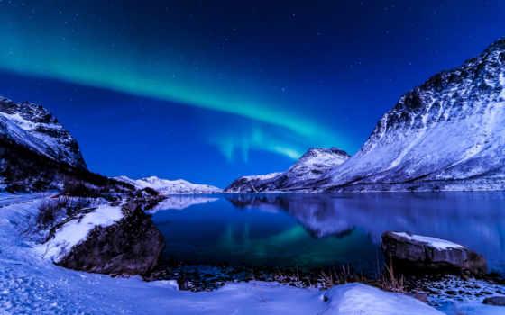 северное, сияние, ночь, winter, iceland, небо, снег,