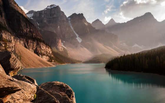 озеро, moraine, фото, walter, dominic, lodge, канада, banff,