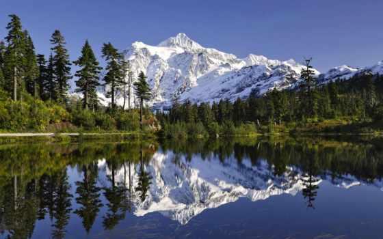 shuksan, озеро, mount, картинка, washington, mt, лес, отражение, гора, скалистый,