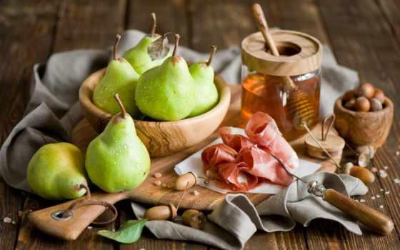 мед, ветчина, мм, каштановый, bacon, free, pears, pantalla,