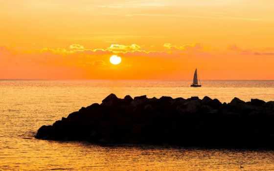 природа, страница, тег, парусник, небо, ocean, clouds, закат, настроение, sail,