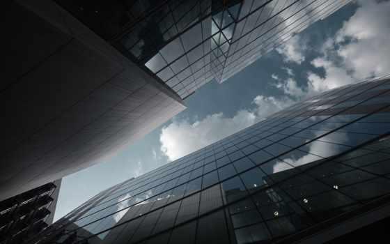 здания, город, небоскребы, небо, glass, отражение, oblaka,