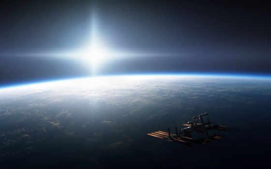 космос, орбите, корабль, мкс, станция, солнце, планета, международная, космическая, waterybell, ft, свет, земля, яркость, stupeflix,