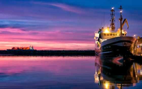 море, корабль, закат
