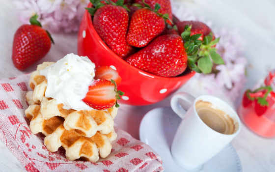 coffee, клубника, изображение, еда, завтрак, cup, waffles,