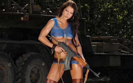 mujer, pistola, con