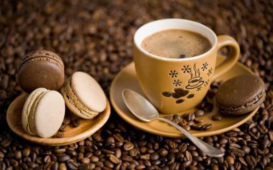 coffee, cookie, cup, зерна, spoon, миндальное печенье, macaron, блюдце,