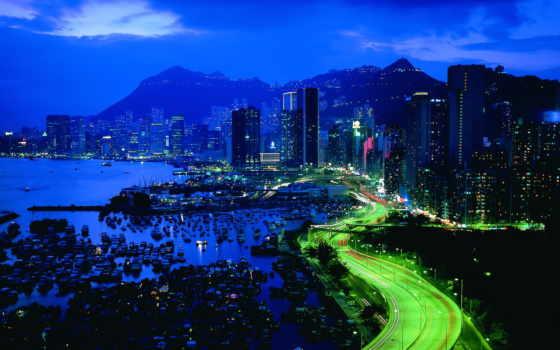 город, ночь, небоскрёбами