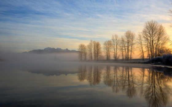 , туман, река, деревья, возход,