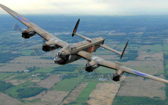 avro, lancaster, самолёт, landscape, бомбардировщик, полет, ретро, plane,