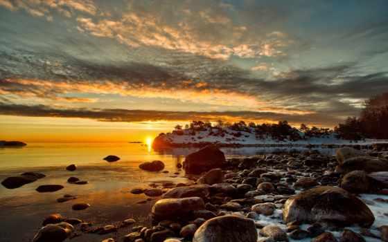 природа, небо, закат, берег, bay, широкоформатные, water, landscape, brownies, шикарная,
