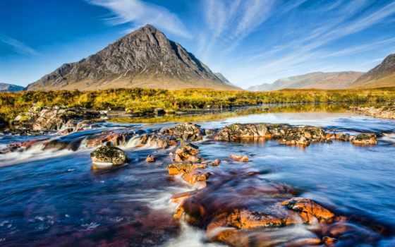 природа, река, небо, камни, scotia, гора,
