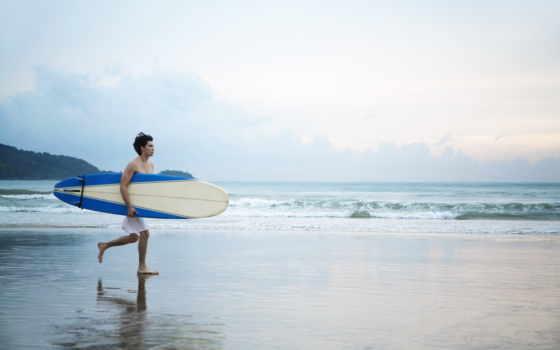 пляж, мужчина, отдых, парень, доска, сёрфинг, песок, surfer, мужчины,
