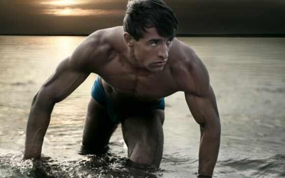мужчина, выходит, море, waters, парень, water, атлет, мышцы,