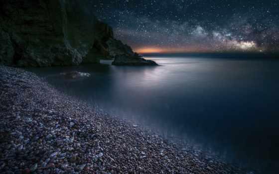 ночь, море, rock, звезды, небо, пляж, камень, природа
