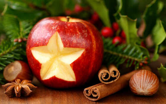 christmas, new, decor, year, cinnamon, desktop, apple, hazelnuts, mac, pine,