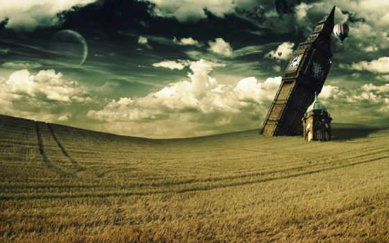 поле, небо, башня, шар, ben, leaning, картинка, towers, time, big,