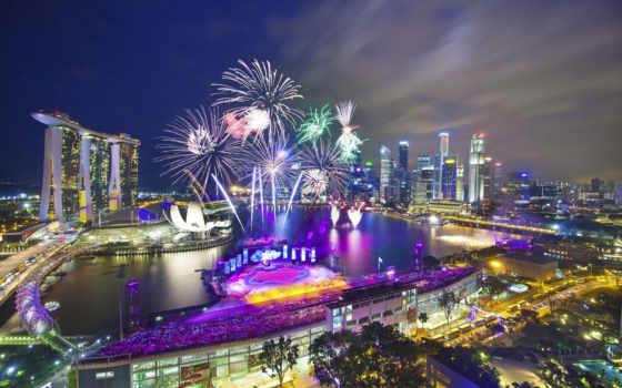 singapore, national, день, fireworks, сингапуре, парад,