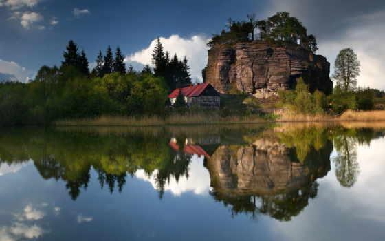 house, картинка, озеро