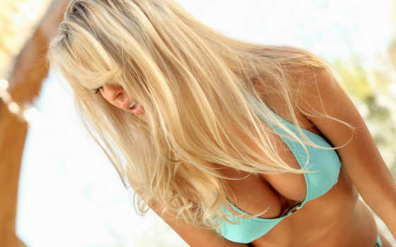 blonde, девушка, грудь