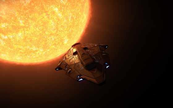 , корабль, солнце, космос, полет,