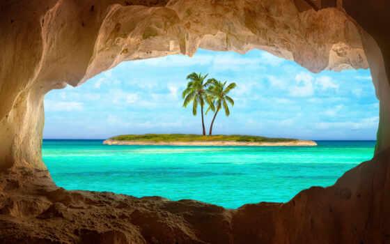, остров, море, пальмы, small, карибские, грот, фоны, live,
