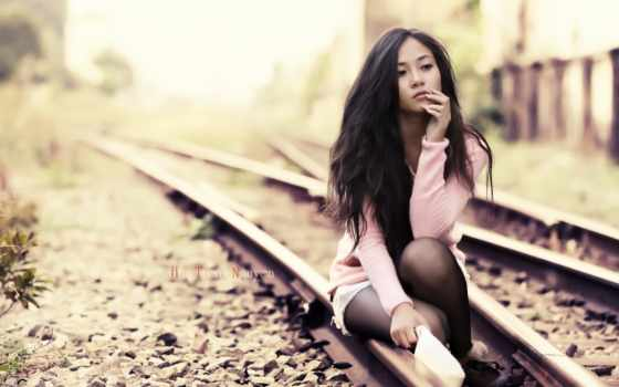 девушка, азиатская, красавица