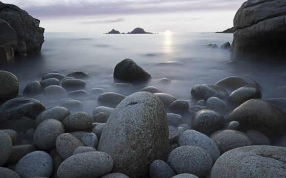 iphone, ipod, серые, море, берег, кошки, туман, трио, гладкие, камни,