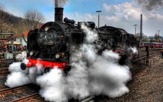 поезда, локомотив, ретро, дым, vintage, картинку, старинные, hdr, zoom, фото, планшета,